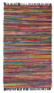 Rug~ Multicolour Cotton and Jute Braided Colour Rug~ By Folio Gothic Hippy R2146